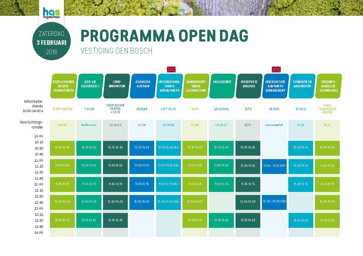 programma open dag 18 november 2017 Den Bosch - HAS Hogeschool